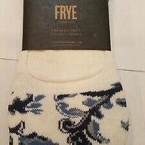 Frye Sneaker Socks Liner Footies White Floral/blue/navy Women's Set of 3 Nwt Photo