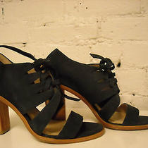 Frye Sofia Tie on Navy Nubuck Leather Stacked Heels 8.5 Photo