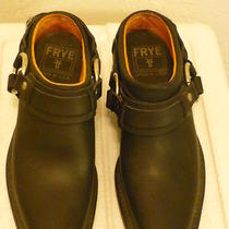Frye Sz 6 Black Oiled Leather  Belted Harness  Mule Shoes Silver Toned Hardware Photo