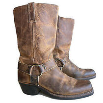 Frye Tan Leather Harness 12r Motorcycle Boots Womens Size 8.5 Square Toe Photo