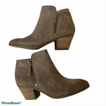 Frye Taupe Zip Ankle Stacked Heel Bootie  Size 8 Photo