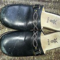 Frye Tosca Ring Women's Black Leather Clogs Slides Wood Heel Brazil Size 8 Photo