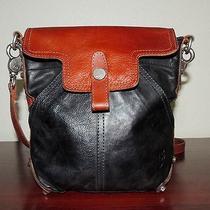 Frye Tracy Cognac & Black Leather Crossbody Bag Photo
