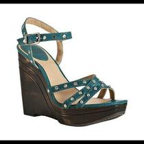 Frye Turquoise Teal Bridget Studded Wedges Sandals Womens Size 8.5m Msrp  450 Photo