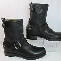 Frye Verionca Leather Back Zip Short Ankle Fashion Boots Black Sz 9b Euc Photo