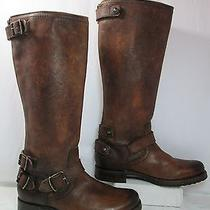 Frye Veronica Distressed Leather Back Zip Tall Riding Boots Brown Sz 8.5b Euc Photo