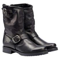 Frye Veronica Short Leather Boot Women's Size 8 Med Biker Black 3476509 New   Photo