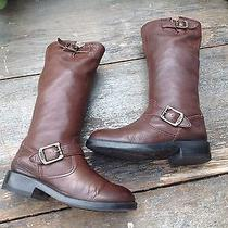 Frye Veronica Slouch Tall Knee High Riding Boots Dark Brown Leather Youth 1.5 Photo