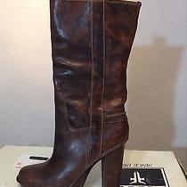 Frye Victoria Mid Dress Brown Pull-on Boots 11 Nib New Boxed High Heels Women's  Photo