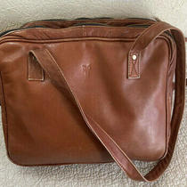 Frye Vintage Lge Brn Leather Shoulder Laptop Tote Satchel Purse Bag Columbia Photo