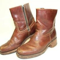 Frye Vintage Mens Size 10 M Leather Mid Zip Square Toe Usa Made Boots 67235 Photo