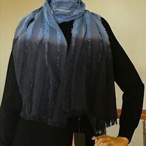 Frye Women Blue/black Dip Die Striped Oblong Wrap Scarf Nwt Msrp 128tax Photo