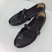 Frye Women's 8b Black Leather Soft Ballet Flats Slip on Mary Jane Shoes Photo