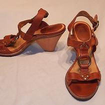 Frye Women's Cognac Brown Leather  Mandy T-Strap Sandals/ Heels/ Shoes Sz 9m Photo