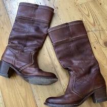 Frye Women's Size 8.5 Brown Leather Knee High Boots Block Heels Photo