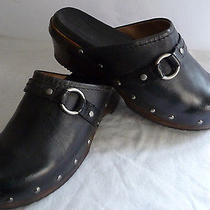 Frye Womens Clogs Mules 8.5m Black Clara O Ring Leather Brads Rubber Soles Photo