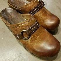 Frye Womens Leather Clogs Mules Size 6.5m Burnt Brown Clara O Ring Rubber Soles Photo