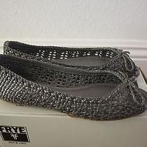 Frye Womens Malorie Woven Peep Flats Sandals New Size 7.5 Fits Like 8 Slate Grey Photo