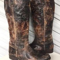Frye Womens Melissa Button Vintage Leather Tall Riding Boot Brown Sz 11 Euc 368 Photo