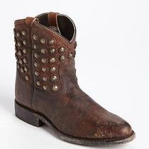 Frye 'Wyatt Disc' Cognac Studded Ankle Short Boots Western Cowboy Shoes Sz 6.5 B Photo