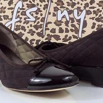Fs/ny French Sole  Deluxe Women's Wedge Pumps Leather Brown Patent /nylon Size 8 Photo