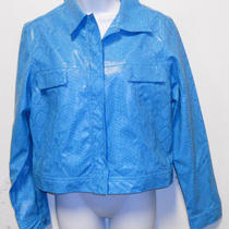 Fuda Sport Sassy Blue Snakeskin Print Long Sleeve Blazer Jacket Medium Photo