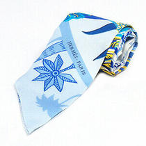 Fujiya Hermes Tuilly Tuil Blue System Yellow Feather Pattern Silk Scarf Photo