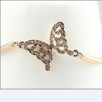 Full Crystal Butterfly Bracelet for Women Lady Girls 14k Plated Rosegold Photo