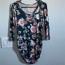 Full Moon Sz Small Maternity 3/4 Sleeves Floral Shirt Teal Blush Cream Photo