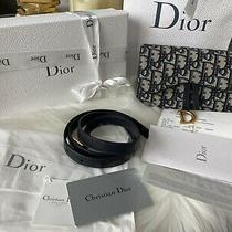 Full Set Christian Dior Blue Oblique Monogram Saddle Belt Waist Purse Bag Photo