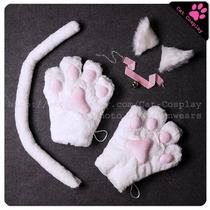 Full Set White Cat Cosplay Anime Fancy Costume Lolita Ear Paw Gloves Tail Choker Photo