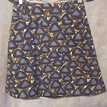 Fun Anthropologie Fei 100% Cotton Skirt Blue a Line Shape Photo