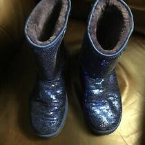 Fun Blue Sequin Ugg Bootsladies Size 10sheepskin Liningsee Photos Photo