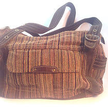 Fun & Essential Fossil Brown Cotton Stripe Corduroy Tote Bag Photo
