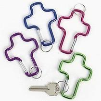 Fun Express - Aluminum Cross Clip Key Chains - Bulk (4-Pack of 12) 4-Pack of 12 Photo