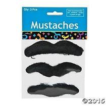Fun Express Black Hairy Mustaches Self-Adhesive Fake Mustache (36) Photo