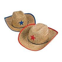 Fun Express Childs Straw Cowboy Hat With Plastic Star - 12 Pieces Photo