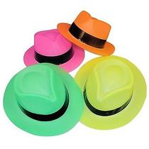 Fun Express Neon Color Plastic Gangster Hats - 12 Piece Pack Photo