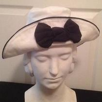 Fun Express Soft White Front Upturned With Black Bow Cotton Hat Photo
