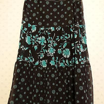 Fun & Flirtacious Black & Turquoise Aqua Ruffled Long Skirt M Awesome Ny & Co.   Photo