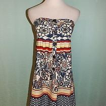 Fun & Flirty Charlotte Russe Bright Colored Floral Print Strapless Dress Size S Photo