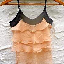 Fun Silk Top Peach Ruffle Black Camisole Shirt Sequin Date Night Work Party Tank Photo