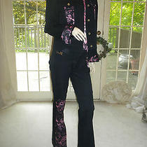Fun Style Roberto Cavalli Pants and Jacket With Pink Floral Insets Photo