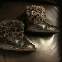 Fun Ugg Girls  Size 13 Leather / Leopard Bootssheepskin Lining Look Photo