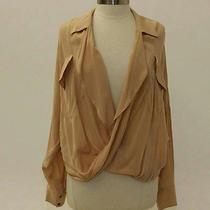 Funktional Pale Blush Long Sleeve Draped Silk Top - Size M Photo