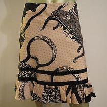 Funky Art Mod Anthropologie Elevenses Skirt Pink Black Chair Floral Print 4p Euc Photo