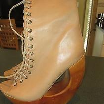 Funky Jeffrey Campbell 'Rollin' Peep Toe Lace Up Boot Shoes Wooden Heels Sz 65 Photo