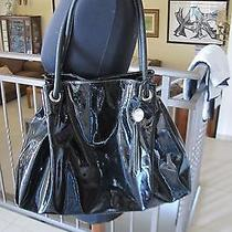 Furla Black Patent Leather Ring Hobo Handbag Photo