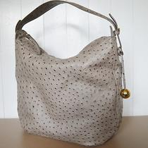 Furla Gray Ostrich Leather Amelie Tracolla Large Hobo Shoulder Bag Mint Rare Photo