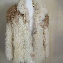 Furrocious Curly Lamb White Brown Fur Coat Jacket Spain Sz S Vintage     Photo